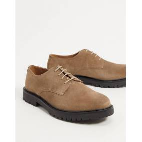 H by Hudson atol chunky lace up shoes in taupe suede-Brown  Brown