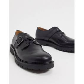 H by Hudson axel buckle lace up shoes in black leather  Black
