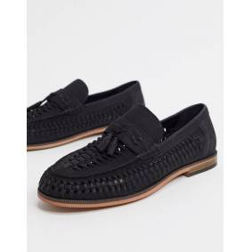 River Island leather woven loafer in black  Black