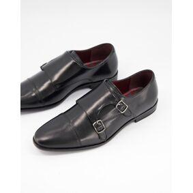 Walk London alfie monk shoes in black leather  Black