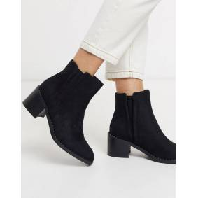 Call It Spring crareweth heeled ankle boots with studded rand in black  Black