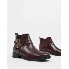Carvela tempo leather ankle boots with buckles in wine-Red  Red