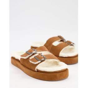 Mango suede slider lounge slippers with faux shearling lining in tan-Brown  Brown