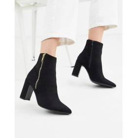 New Look pointed block heeled boot in black  Black