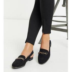 Simply Be Wide Fit Simply Be mule with elastic strap in wide fit in black and gold  Black