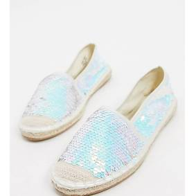 Simply Be wide fit sequin espadrille-Silver  Silver
