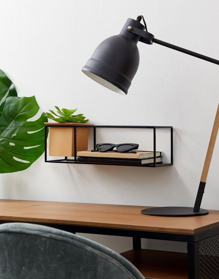 Umbra black wall shelf with planter - Multi