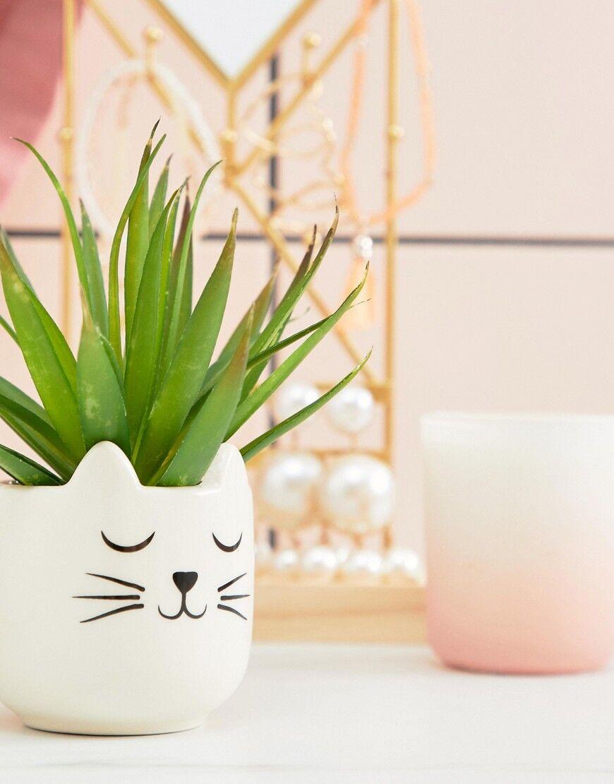 Sass & Belle mini whiskers cat plant pot - Multi