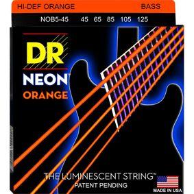 Dr Strings Nob545 Neon Orange (045-125) Medium 5 String