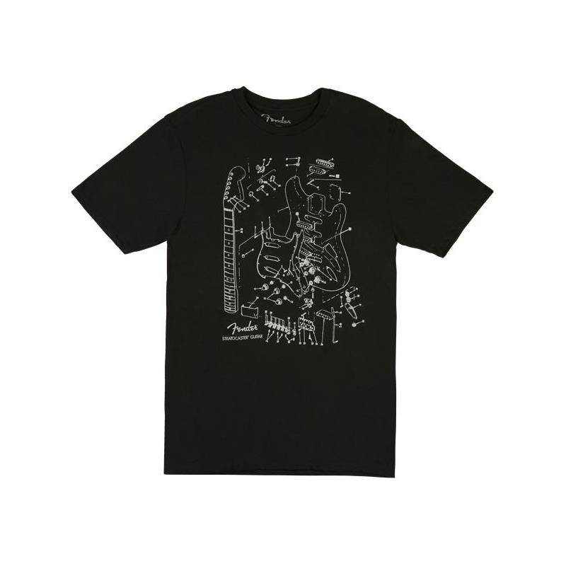 Fender Stratocaster Pat. Drawing T-Shirt Black, L