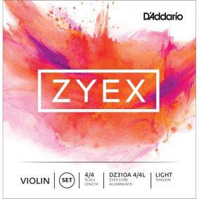 D'Addario Dz310a 4/4l Violin Strings Zyex Set (Aluminum D) Light Tension