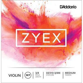 D'Addario Dz310 3/4m Violin Strings Zyex Set 3/4 Medium Tension