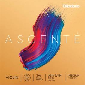 D'Addario A314 3/4m Violin String Ascenté Student Synth G-Monel 9.5