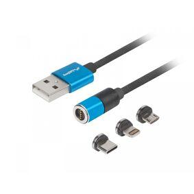 Lanberg 3in1 Premium Magnetisk Kabel QC 3.0 - Blå
