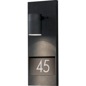 Konstsmide Modena vegglampe GU10 svart inkl husnummer IP44 - 7721766