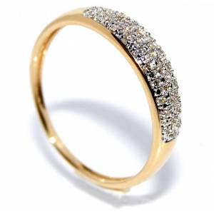 Diamantring i gult gull m/ diamanter 0.08ct w.si