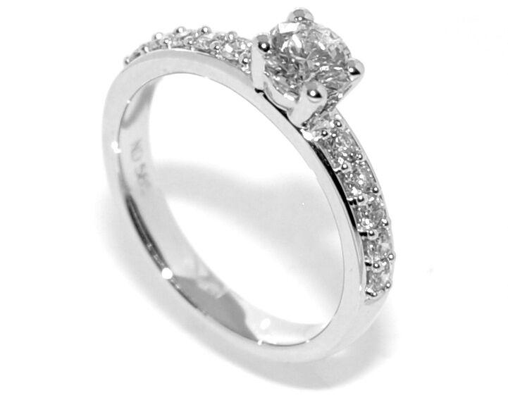 Frierring hvitt gull diamanter 0.75ct tw.si GIA