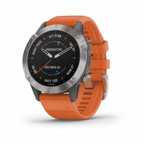 Garmin Fenix 6 Sapphire Titan GPS pulsklokke, m/oransje rem