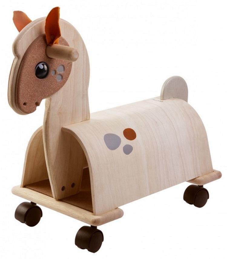 Plan Toys Kjørehest med hjul, brun (355-3473)