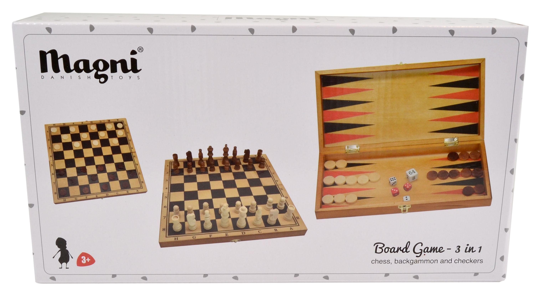 Magni 3-i-1 Dam, Sjakk, Backgammon (225-2590)
