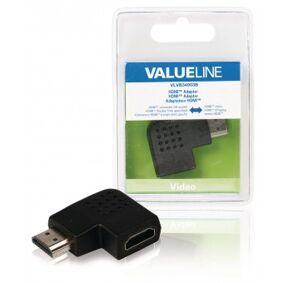 High Speed HDMI med Ethernet Adapter Vinklet Venstre HDMI Kontakt - HDMI Hun Sort