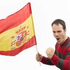 Spansk flagg med stang 60 x 90 cm