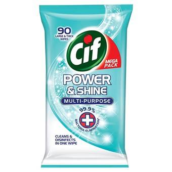 Cif Power & Shine Multi-Purpose Anti-bacterial Cleaning Wipes - 90 stk
