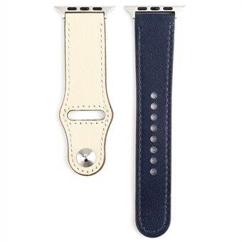 Genuine Leather Rivet Buckle Smart Watch Band for Apple Watch Series 1/2/3 38mm / Series 6/SE/5/4 40mm