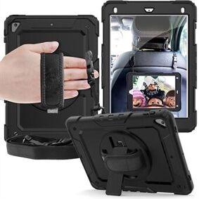Apple 360 ° dreibar Handy Strap PC Silikon Combo Kickstand Tablet-skall med skulderrem + skjermbeskytter for iPad 9,7-tommers (2018) / (2017) / Air 2 / Pro 9,7-tommers (2016)