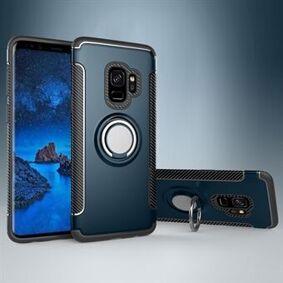 Samsung Magnetisk bilmontering ringholder Kickstand TPU + PC Hybrid mobiltelefon veske til Samsung Galaxy S9 SM-G960