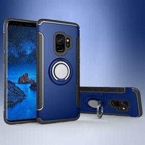 Samsung Magnetisk bilmontering ringholder Kickstand TPU + PC Hybrid mobiltelefon foringsrør til Samsung Galaxy S9 SM-G960