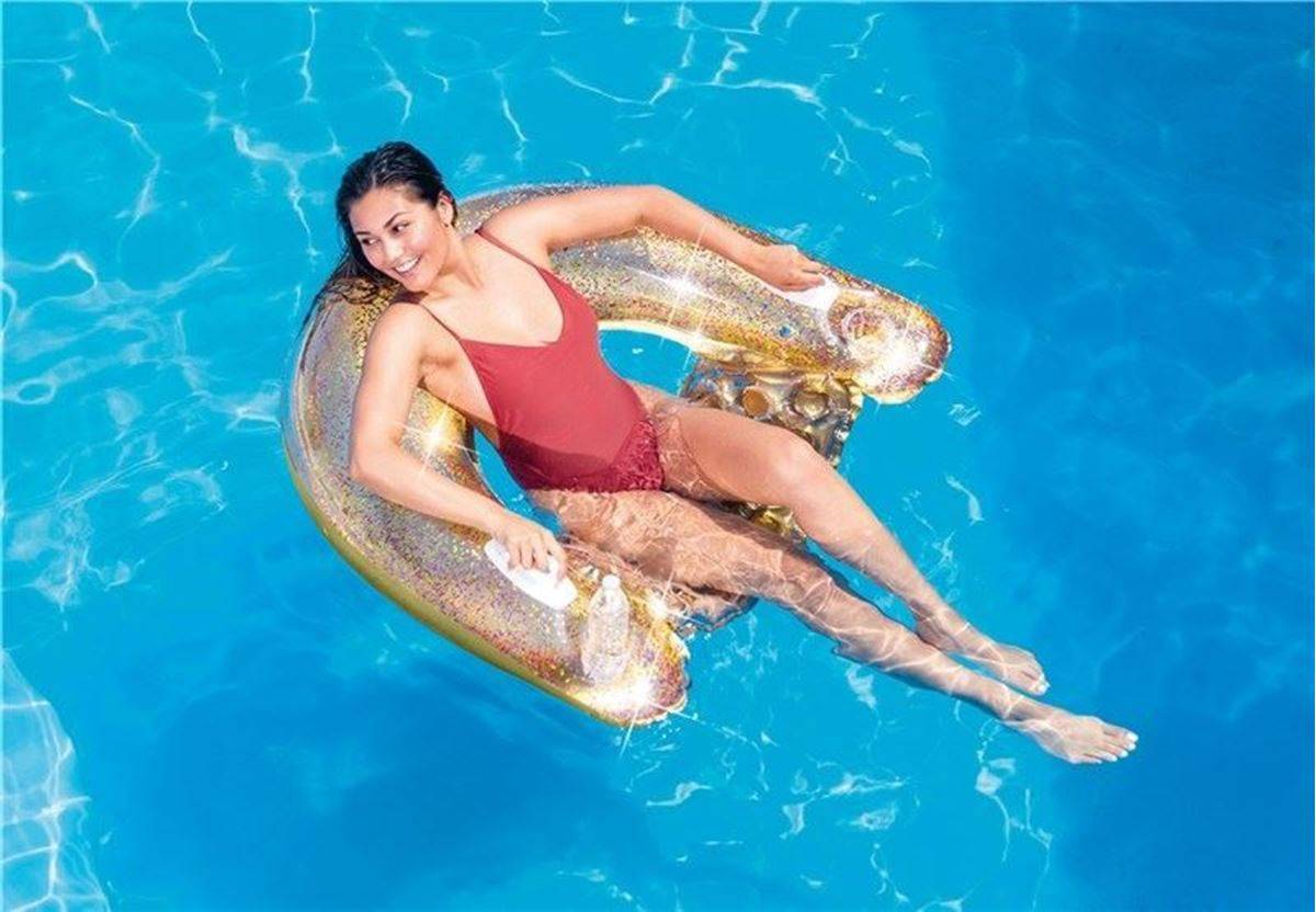Intex Glitter Sit and Float Flytemadrass, Gull
