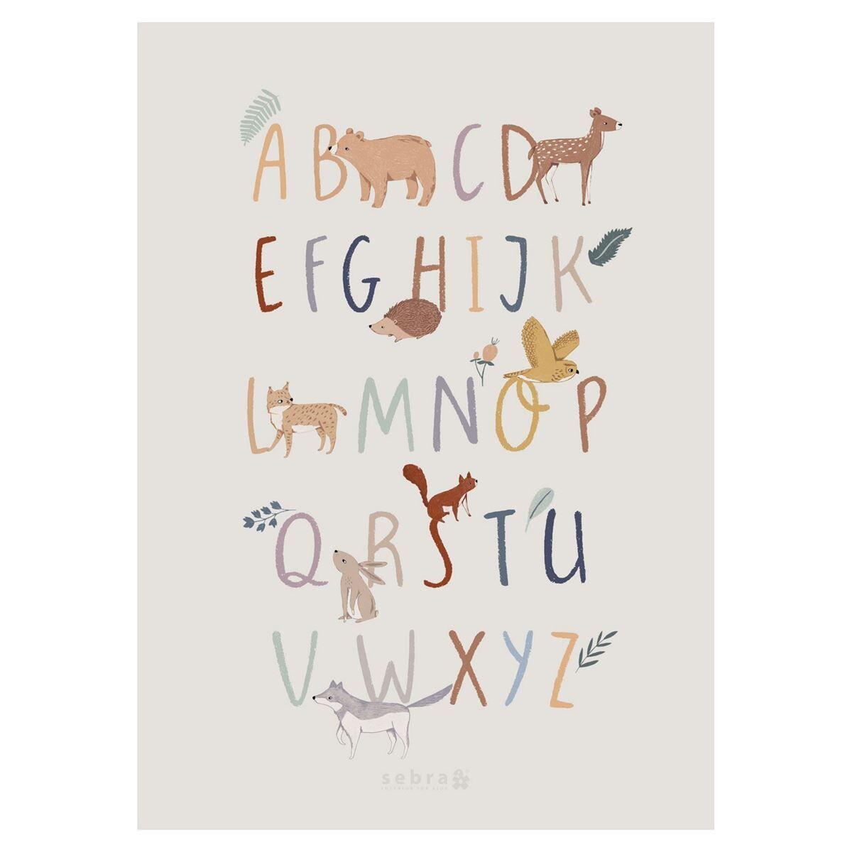 Sebra Poster, Alfabetet A-Z (EN), Nightfall