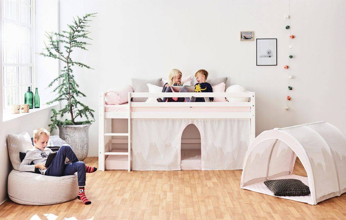Hoppekids Sengegardin med tyl, Winter Wonderland, Halvhøy/Køye, 90x200cm