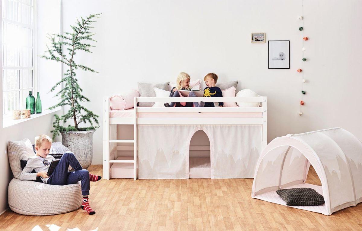 Hoppekids Sengegardin med tyl, Winter Wonderland, Halvhy/Kye, 90x200cm