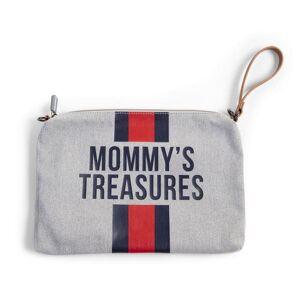 Childhome Mommy Bag Clutch, Grå + Rød/Blå