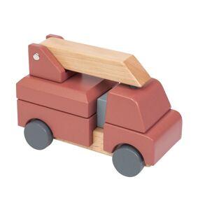Sebra Leke brannbil i tre m/ stableleke, clay red