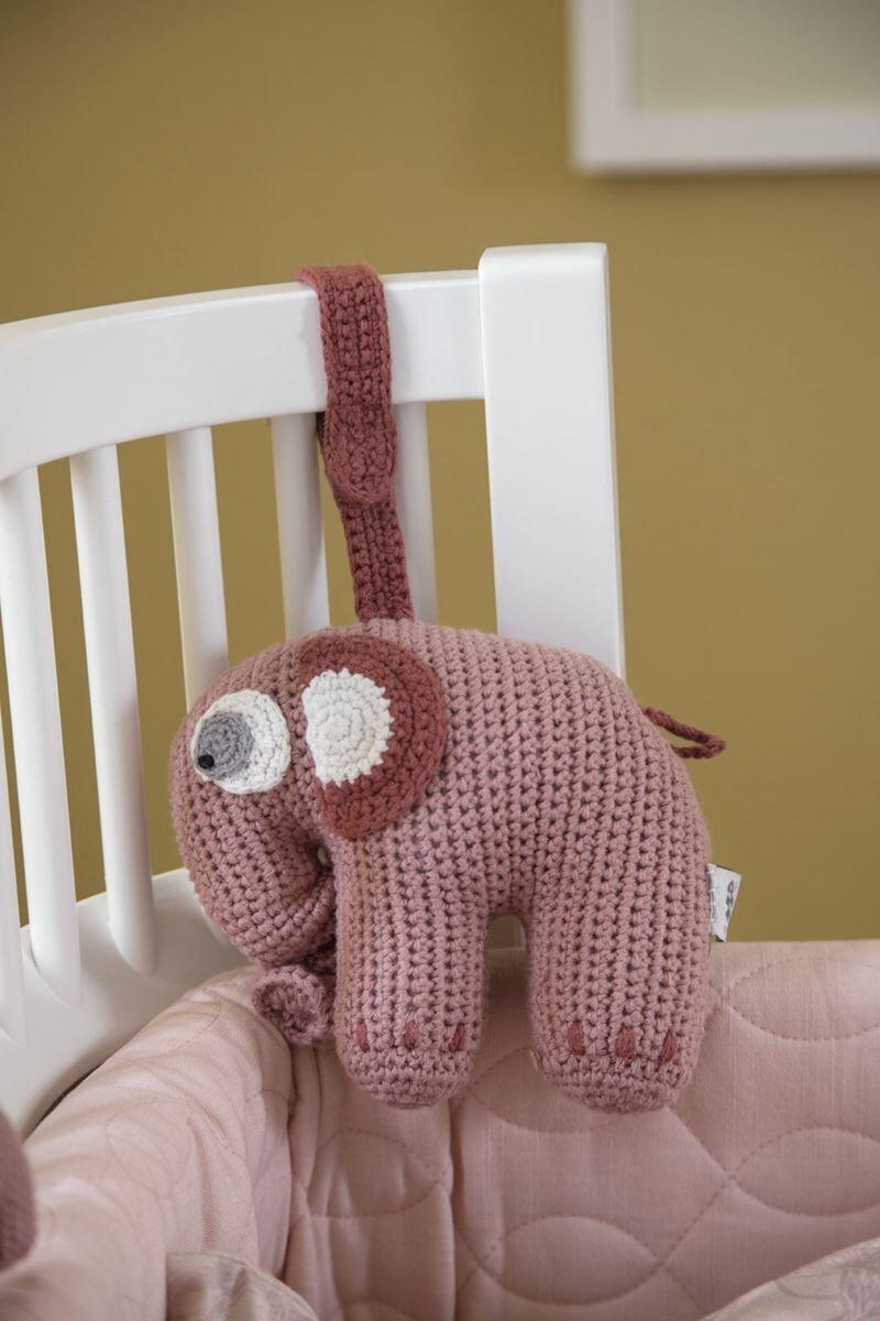 Sebra Heklet Musikkuro, Elefanten Fanto, blossom pink