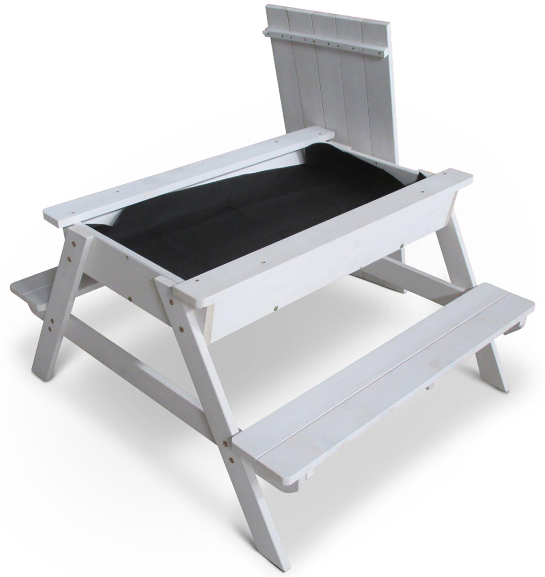 Woodlii Piknikbord med Sandkasse + Lokk, Hvit