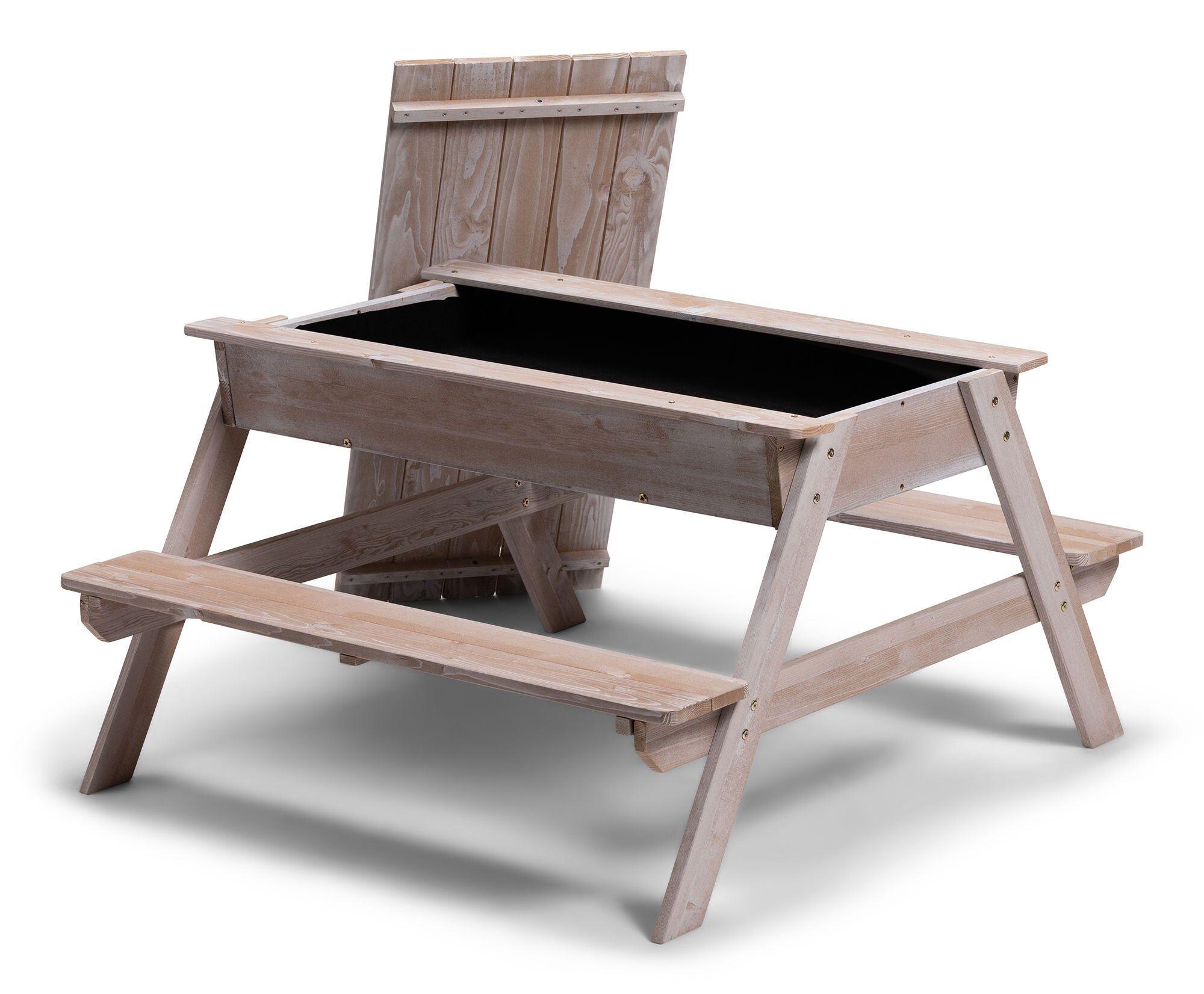 Woodlii Piknikbord med Sandkasse + Lokk, Grå