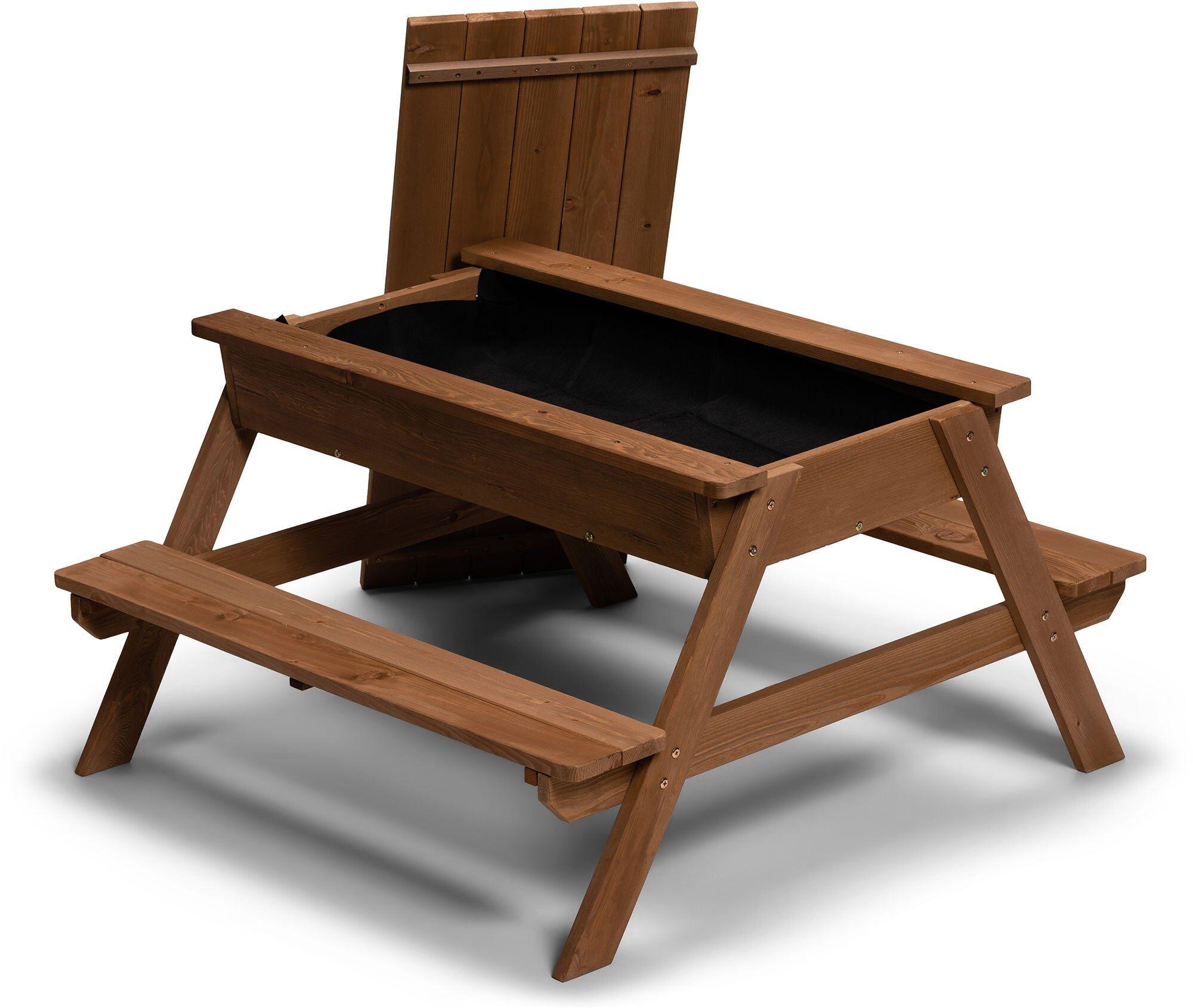 Woodlii Piknikbord med Sandkasse + Lokk, Brun