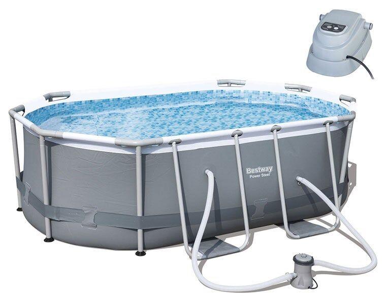 Bestway Poolpakke Steel Oval + Bassengvarmer