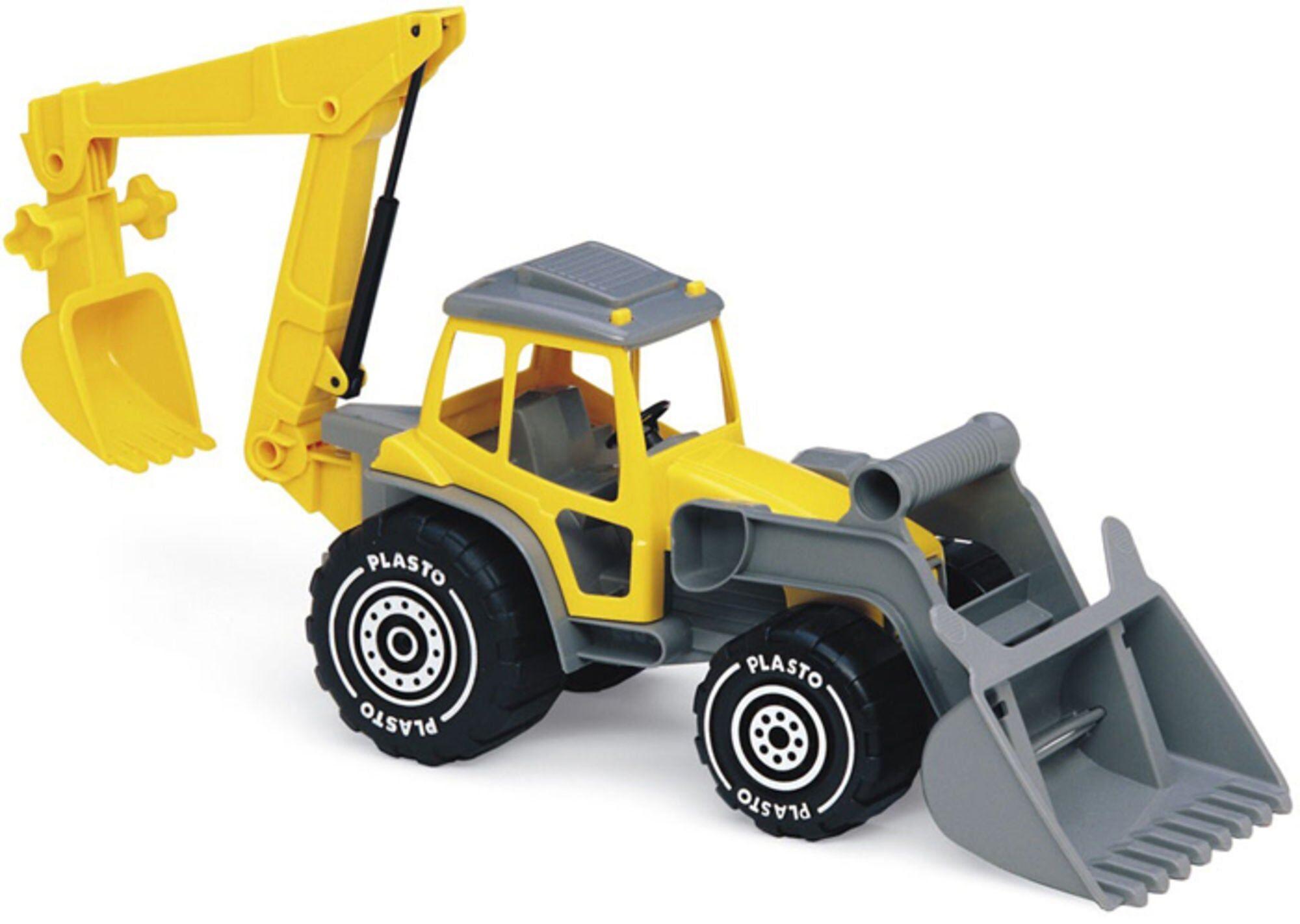 Plasto Traktor med Frontskuffe og Graveskuffe Gul