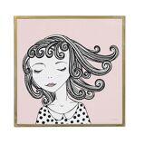 Bloomingville Bilde Girl, 40x40 cm, Rosa