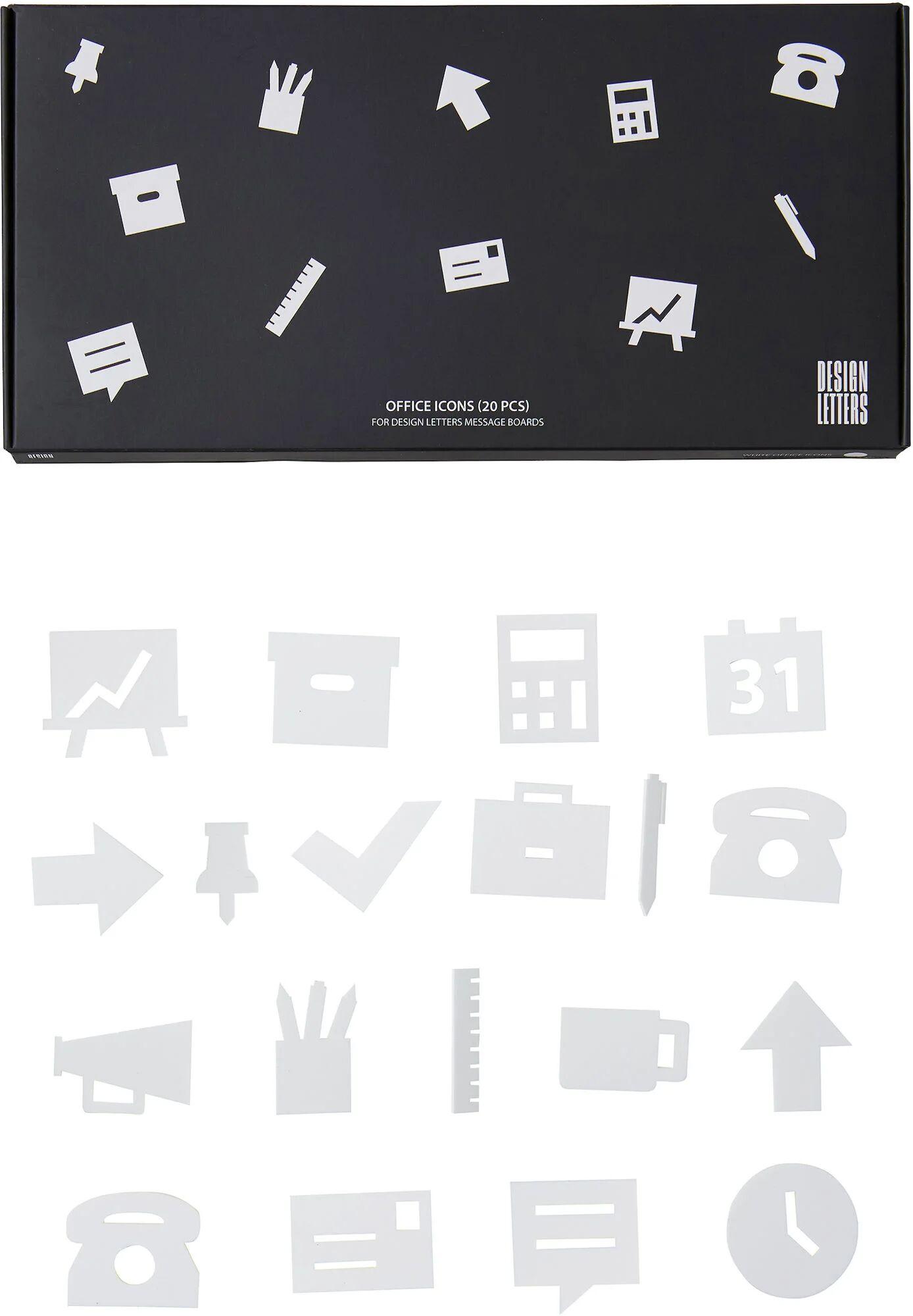 Design Letters Kontorikoner for Oppslagstavle 20 pcs, Hvit