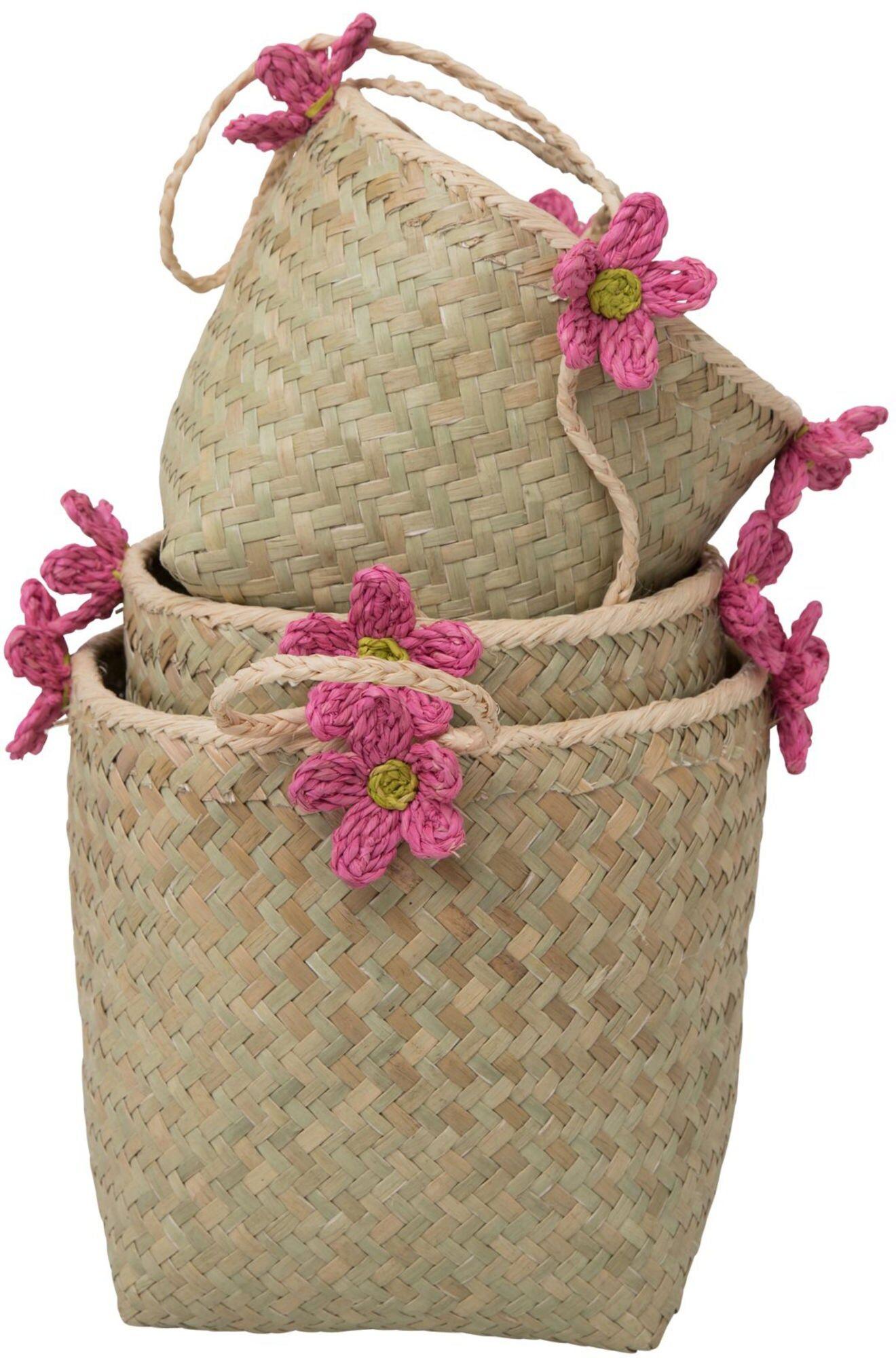 Rice Hengende Oppbevaringskurv Blomst