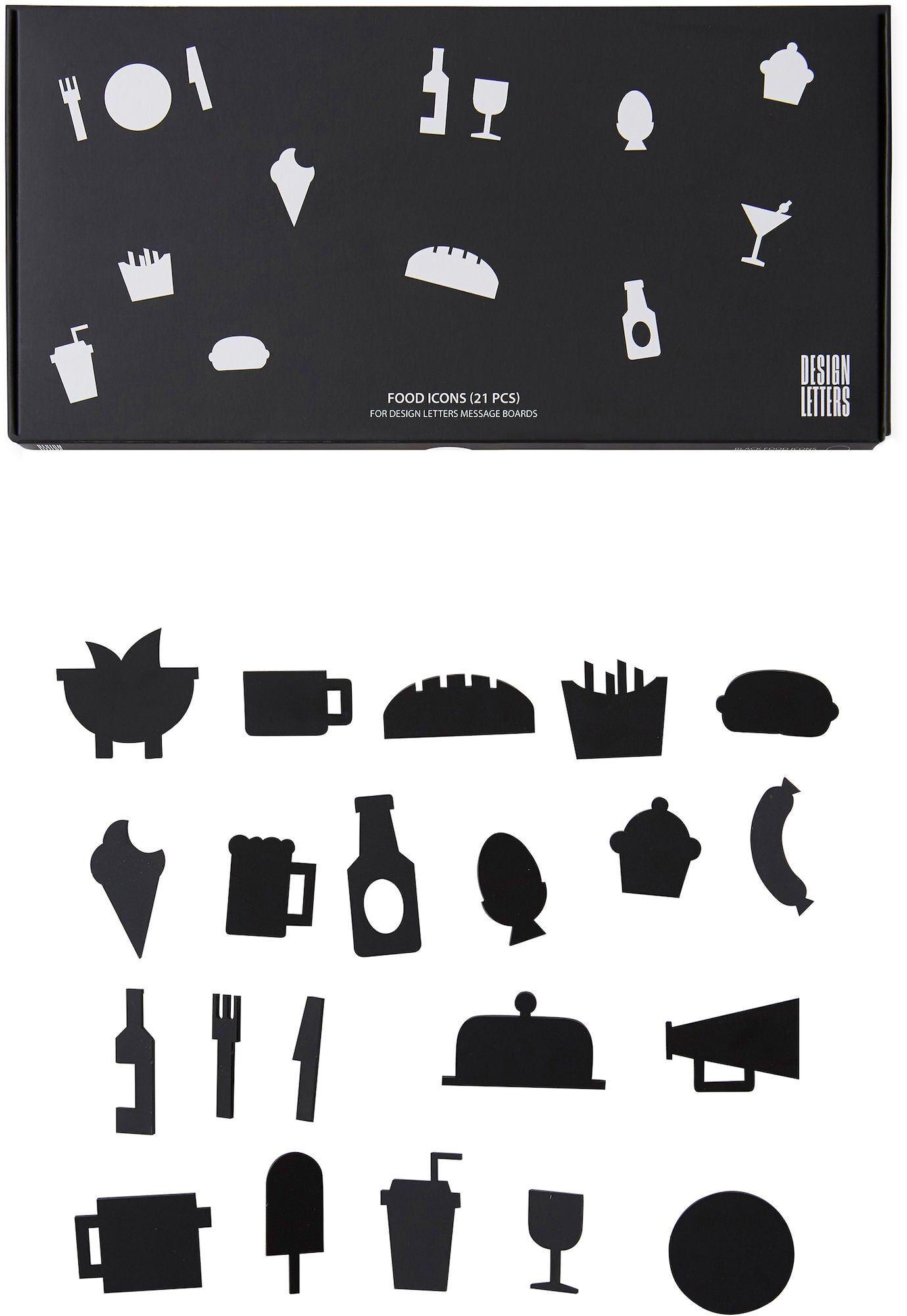 Design Letters Matikoner for Oppslagstavle 21 pcs, Svart