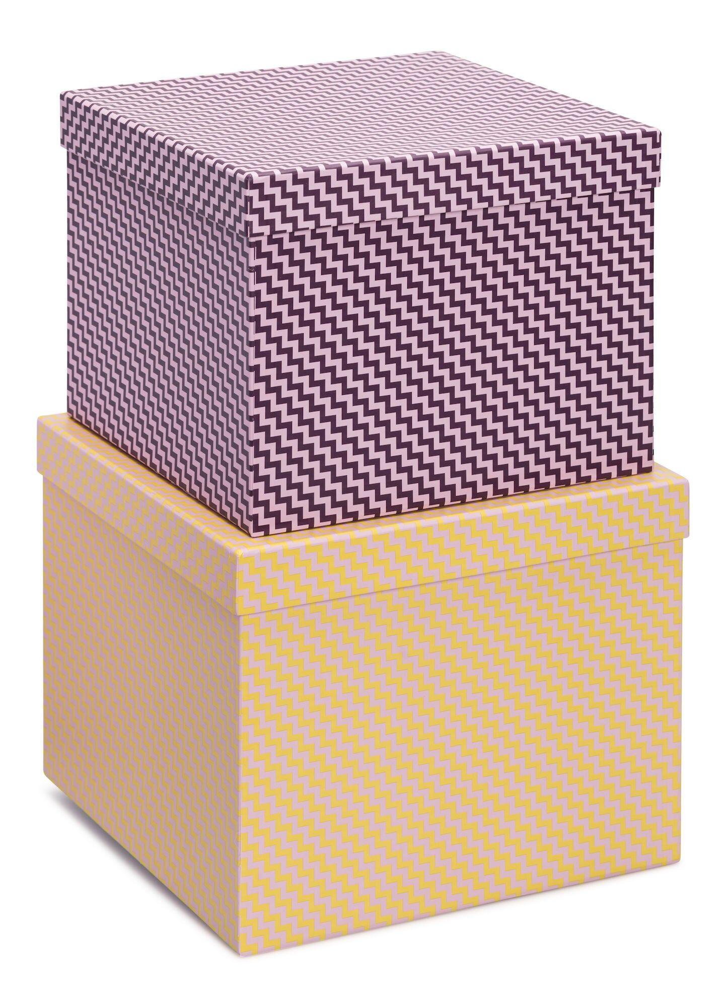 Petite Déco Oppbevaringsboks Kvadrat Damaskus 2-Pack, Gul/Rosa