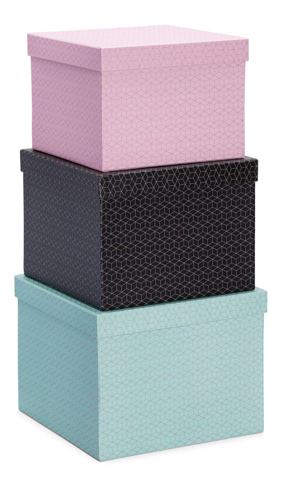 Petite Déco Oppbevaringsboks Kvadrat Golden Square 3-Pack