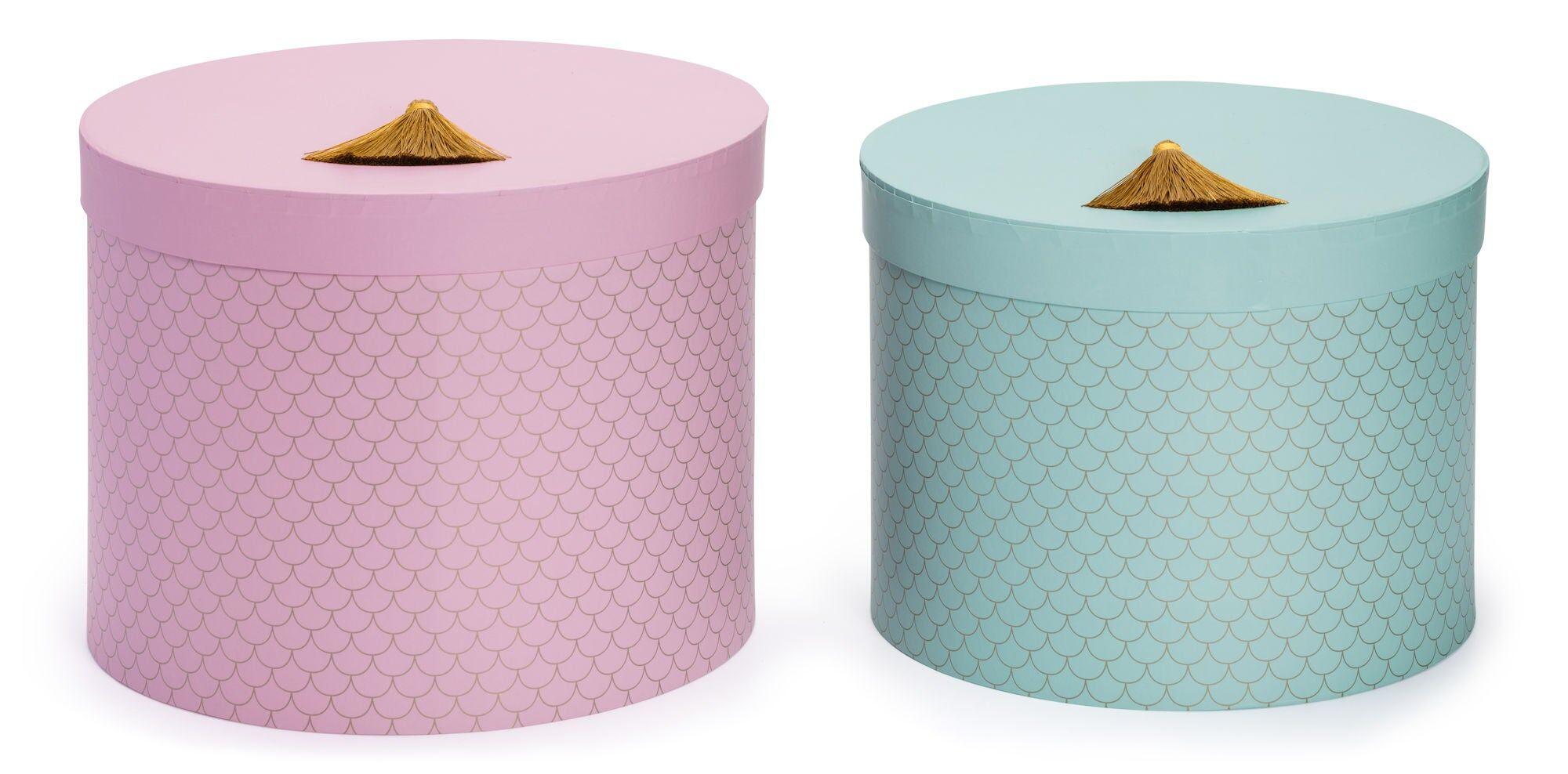 Petite Déco Oppbevaringsboks Rund Golden Scallop 2-Pack, Blå/Rosa